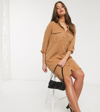 Vero Moda Curve shirt dress in tan