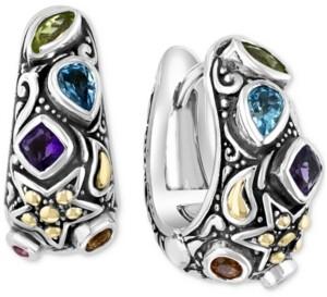 Effy Multi-Gemstone Star Hoop Earrings (7/8 ct. t.w.) in Sterling Silver & 14k Gold-Plate