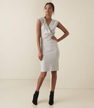 Reiss Olivia - Wrap Front Knitted Bodycon Dress in Grey