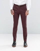 Asos Skinny Suit Trousers In Burgundy