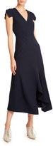Roland Mouret Kinglake Crepe Cap-Sleeve Asymmetric Dress