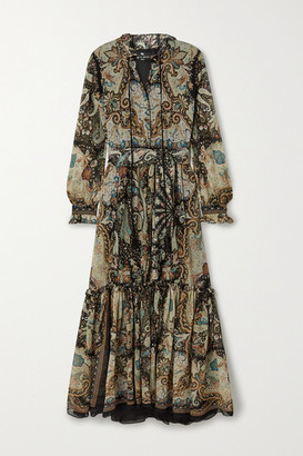 Etro Tasseled Printed Silk-crepon Maxi Dress - Black