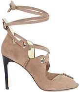 Karen Millen Ghillie Eyelet Peep Toe Sandals, Taupe