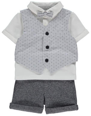 George White Polo Shirt Shorts and Bow Tie Outfit