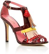 Paule Ka Leather Heeled Sandals with Tassles
