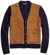 Brooks Brothers Suede and Lambswool Cardigan