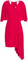 Thumbnail for your product : Halston Asymmetric Cutout Draped Crepe Mini Dress
