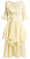 Lisa Marie Fernandez Laura Striped Seersucker-cotton Midi Dress - Womens - Yellow Multi