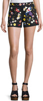 Alice + Olivia Marisa Embroidered Back-Zip Shorts, Black/Multicolor