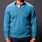 Blade + Blue Aqua Blue V-Neck Sweater