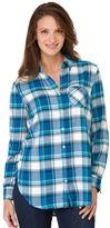 Haggar Women's Plaid Roll-Tab Shirt