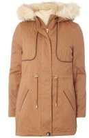 Dorothy Perkins Womens Tan Faux Fur Leather Trim Parka Coat- Brown