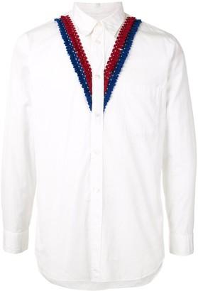Comme Des Garçons Pre Owned V-neck knit trim shirt