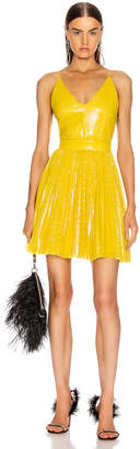 MSGM Sequined Pleated Mini Dress in Yellow | FWRD