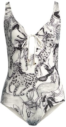 Stella McCartney Horse-Print Lace-Up One-Piece Swimsuit