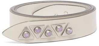 Isabel Marant Letri Studded Knotted Leather Belt - White Multi