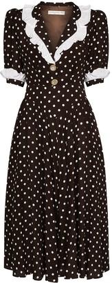 Alessandra Rich Polka-Dot Ruffled Midi Dress