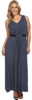 MICHAEL Michael Kors Size Alston V-Neck Pleat Maxi Dress