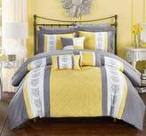 Chic Home 8 Clayton Pintuck Pieced Color Block Embroidery Twin Bed in a Bag Comforter with Sheet Set