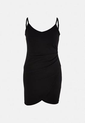 Missguided Plus Size Black Cami Twist Side Mini Dress