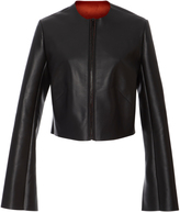 Diane von Furstenberg Collarless Leather Jacket