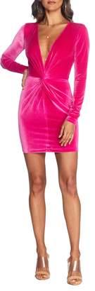 Dress the Population Cosmopolitan Aidan Long Sleeve Twist Plunge Velvet Body-Con Dress