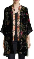 Johnny Was Kehlani Reversible Velvet Kimono W/ Embroidery Trim, Petite