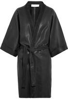 IRO + Anja Rubik Kouta Suede-trimmed Leather Coat - Black