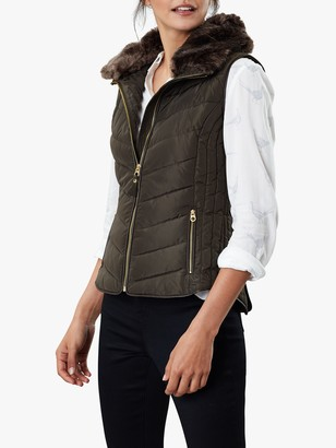 Joules Maybury Chevron Padded Hooded Gilet, Heritage Green