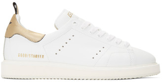 Golden Goose White and Gold Starter Sneakers