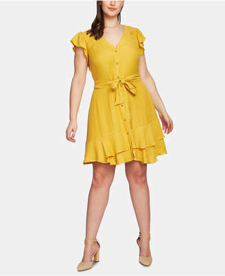 1 STATE 1.state Plus Size Button-Front Asymmetrical Dress