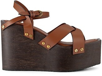 Frame Le Melrose Leather Wedge Sandals