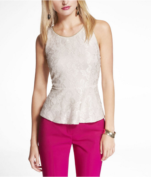 Express Lace Peplum Shell Top