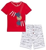 Catimini Red and White Paris Scribble and Instrument Tee and Shorts Set