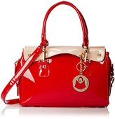 MG Collection Polyurethane Patent Leather Office Purse Convertible Top Handle Bag
