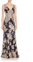 David Meister Lace Embellished Sleeveless Trumpet Gown