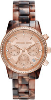 MICHAEL Michael Kors 37mm Ritz Chronograph Watch, Rose Gold/Tortoise