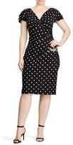 Lauren Ralph Lauren Plus Size Women's Dot Jersey Ruched Sheath Dress