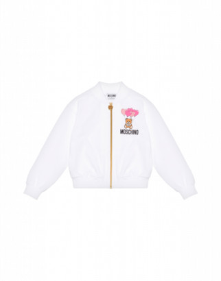 Moschino Heart Balloons Teddy Bear Zipped Sweatshirt Woman White Size 4a It - (4y Us)