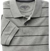 Charles Tyrwhitt Grey and charcoal stripe pique polo