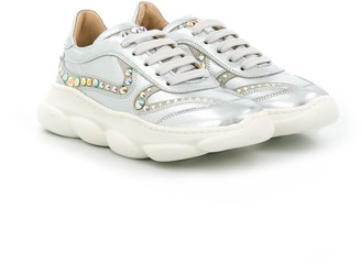 Elie Saab Junior TEEN studded lace-up sneakers