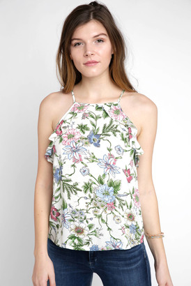 RD Style Floral Print Ruffle Tank Top Cream S