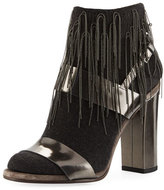Brunello Cucinelli Metallic Leather Sandal with Cashmere and Monili Sock