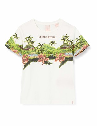 Scotch & Soda Girl's Short Sleeve Tee in Organic Cotton with Tropical Print T-Shirt
