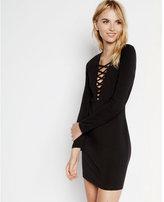Express black deep v-neck lattice front dress