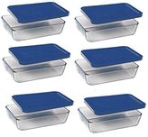 Pyrex 3-cup Rectangle Glass Food Storage Set Container Dark Blue Plastic Cover (Pack of 6 Containers)