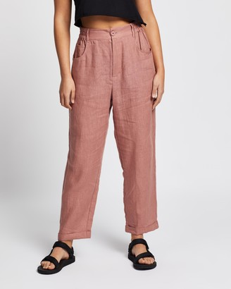 AERE - Women's Pink Pants - Casual Linen Pants - Size 6 at The Iconic