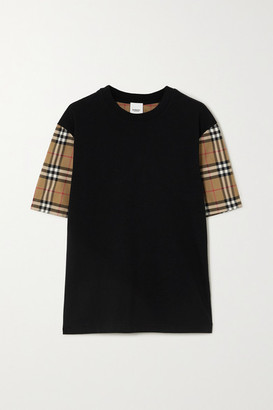 Burberry Checked Poplin And Cotton-jersey T-shirt - Black