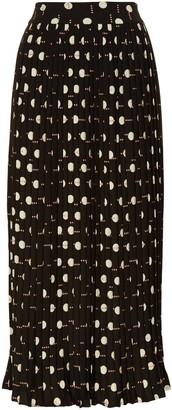 Traffic People Black Geometric Printed Pleated Midi Falls Skirt