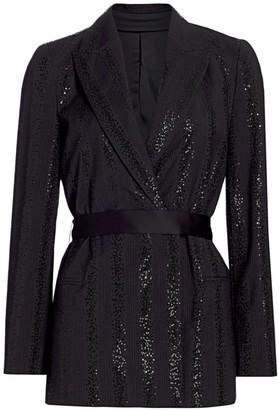 Brunello Cucinelli Sequin Stripe Wool-Blend Wrap Jacket